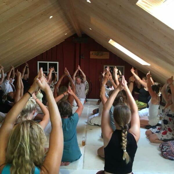 Stor grupp som yogar på loftet